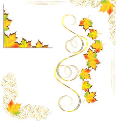 Set of frames in a luxurious style with autumn leaves