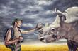 Tourist touching the Rhino