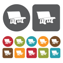 School bench icons set. Round and rectangle colourful 12 buttons