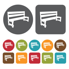 Old bench icons set. Round and rectangle colourful 12 buttons. V