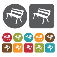 Bench silhouette icons set. Round and rectangle colourful 12 but