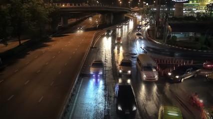 Night traffic City life background