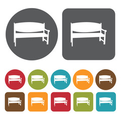 Bench with solid back icons set. Round and rectangle colourful 1