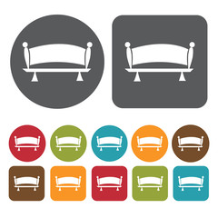 Elegant bench icons set. Round and rectangle colourful 12 button