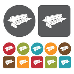 Double  bench icons set. Round and rectangle colourful 12 button
