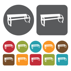 Metal bench icons set. Round and rectangle colourful 12 buttons.