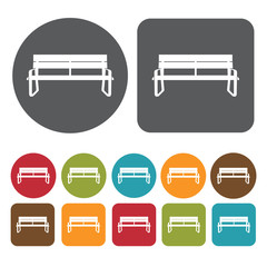 Beautiful bench icons set. Round and rectangle colourful 12 butt