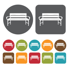 Bench isolated icons set. Round and rectangle colourful 12 butto