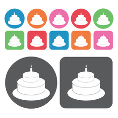 2 layer cake with candle icons set. Round and rectangle colourfu