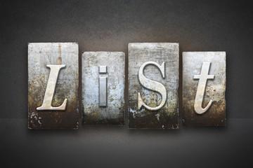 List Letterpress