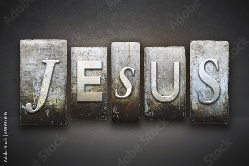 Leinwanddruck Bild Jesus Letterpress