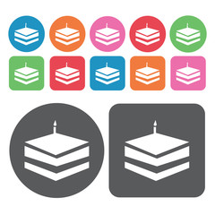 Square cake icons set. Round and rectangle colourful 12 buttons.