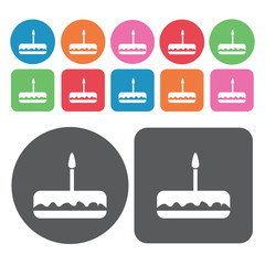 Chocolate cake icons set. Round and rectangle colourful 12 butto