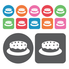 Fruitcake icons set. Round and rectangle colourful 12 buttons. V
