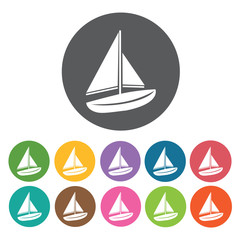 Sail boat icons set. Round colourful 12 buttons. Vector illustra
