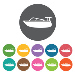 Speed boat icons set. Round colourful 12 buttons. Vector illustr