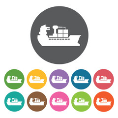 Ship container icons set. Round colourful 12 buttons. Vector ill