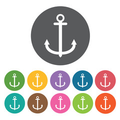 Anchor icons set. Round colourful 12 buttons. Vector illustratio