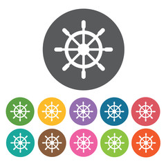 Ships steering wheel icons set. Round colourful 12 buttons. Vect