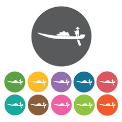 Vietnamese boat icons set. Round colourful 12 buttons. Vector il