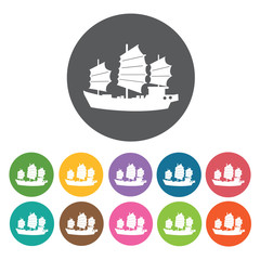 Chinese boat icons set. Round colourful 12 buttons. Vector illus