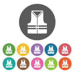 Life vest icons set. Round colourful 12 buttons. Vector illustra