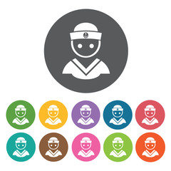 Sailor avatar icons set. Round colourful 12 buttons. Vector illu