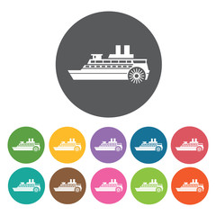 Propeller ship icons set. Round colourful 12 buttons. Vector ill