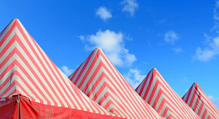 white and red tents