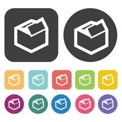 Open box icons set. Round and rectangle colourful 12 buttons. Ve