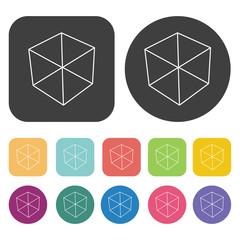 Box vector icons set. Round and rectangle colourful 12 buttons.