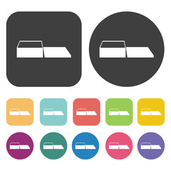 Empty box icons set. Round and rectangle colourful 12 buttons. V