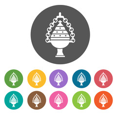 Holy blessing cup icons set. Round colourful 12 buttons. Vector