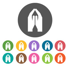 Praying hand icons set. Round colourful 12 buttons. Vector illus