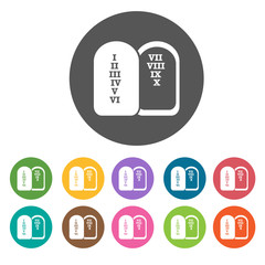Ten commandments icons set. Round colourful 12 buttons. Vector i