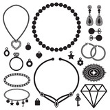 Jewelry silhouette icons vector set - 69938815