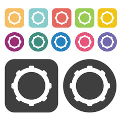 Bike cogs icon symbol set. Gear set. Round and rectangle colourf