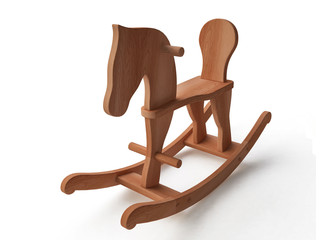 Wooden Rocking Horse in 3D