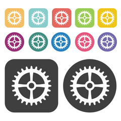 Bicycle gear icon symbol set. Gear set. Round and rectangle colo