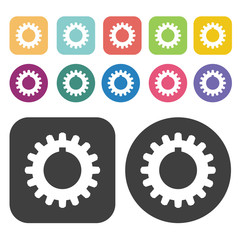 Set of gears icon symbol set. Gear set. Round and rectangle colo