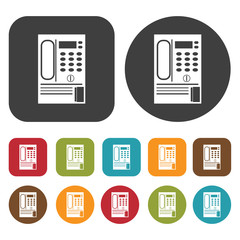 Coin phone icon symbol set. Telephone and home phone set. Round