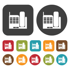 New phone icon symbol set. Telephone and home phone set. Round a