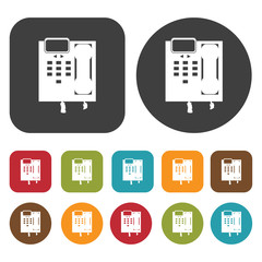 Digital phone set icon symbol set. Telephone and home phone set.