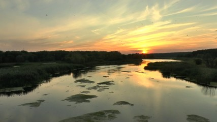 The sunrise above the forest and river in summer, time lapse,