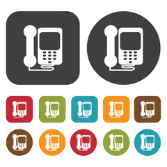 Phones icon symbol set. Telephone and home phone set. Round and