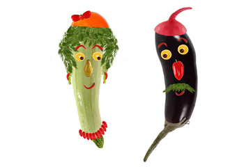Funny portrait made ??of zucchini,  eggplant  and fruits