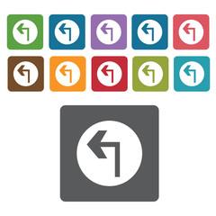 Left turn sign icon symbol set. Traffic signs set. Rectangle col