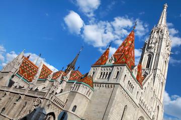 BUDAPEST . View to Matthias Church in the Castle Distri