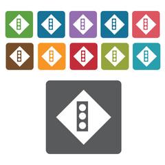 Traffic light sign icon symbol set. Traffic signs set. Rectangle