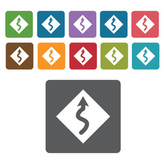 Curvy road sign icon symbol set. Traffic signs set. Rectangle co